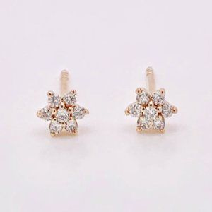 18k Rose Gold Diamond Flower Earrings